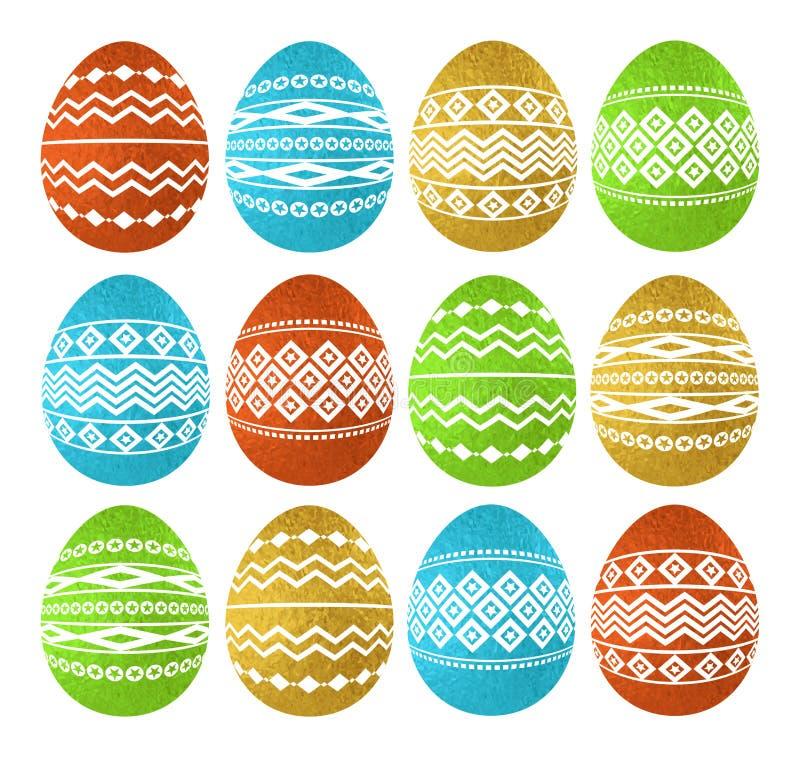 Złotego koloru Wielkanocni jajka odizolowywający na białym tle Wakacyjni Wielkanocni jajka dekorujący z geometrycznymi kształtami ilustracja wektor