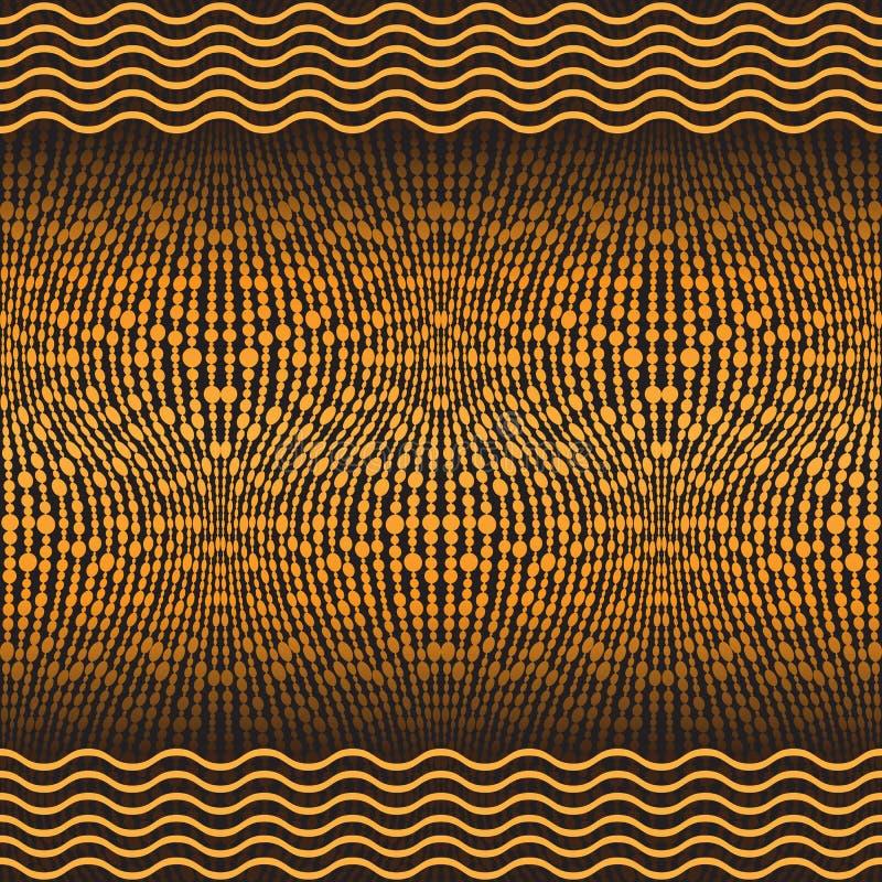 Złoty bezszwowy wzór z falistymi liniami i piłkami royalty ilustracja