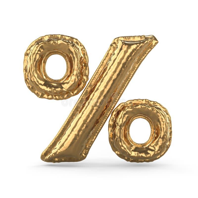 Złoty procentu znak robić nadmuchiwany balon odizolowywający 3d royalty ilustracja