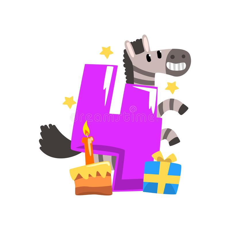 Zèbre doux et numéro quatre, joyeux anniversaire, nombre d'anniversaire avec l'illustration animale mignonne de vecteur de caract illustration stock
