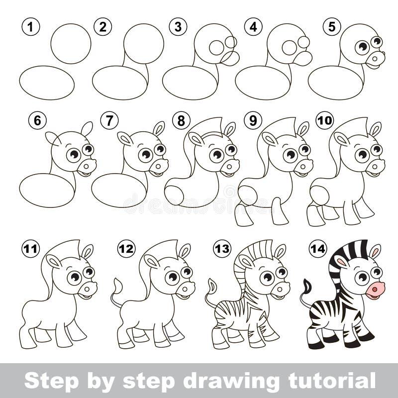 Z bre mignon cours de dessin illustration de vecteur - Zebre a dessiner ...