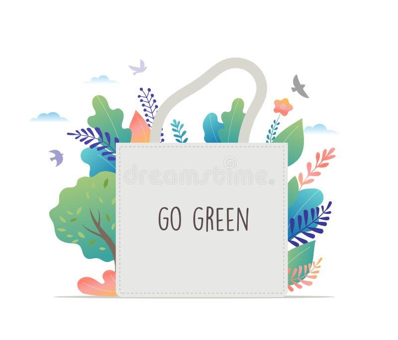 Z?ro de rebut, ambiant, disparaissent la conception de l'avant-projet verte Illustration de vecteur illustration de vecteur