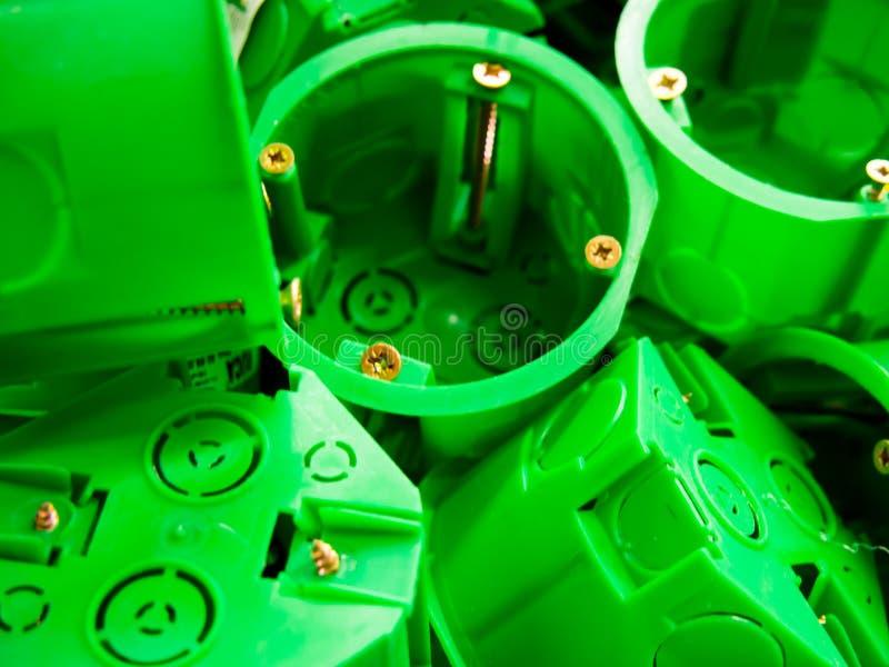 Zócalo de la caja de depósito para la instalación en cartón yeso foto de archivo libre de regalías