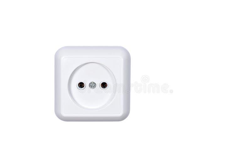 Zócalo de la corriente eléctrica en el fondo blanco fotos de archivo