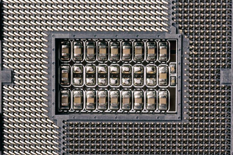 Zócalo de la CPU del ordenador Ciérrese encima de imagen con el foco selectivo y la visión superior imagenes de archivo