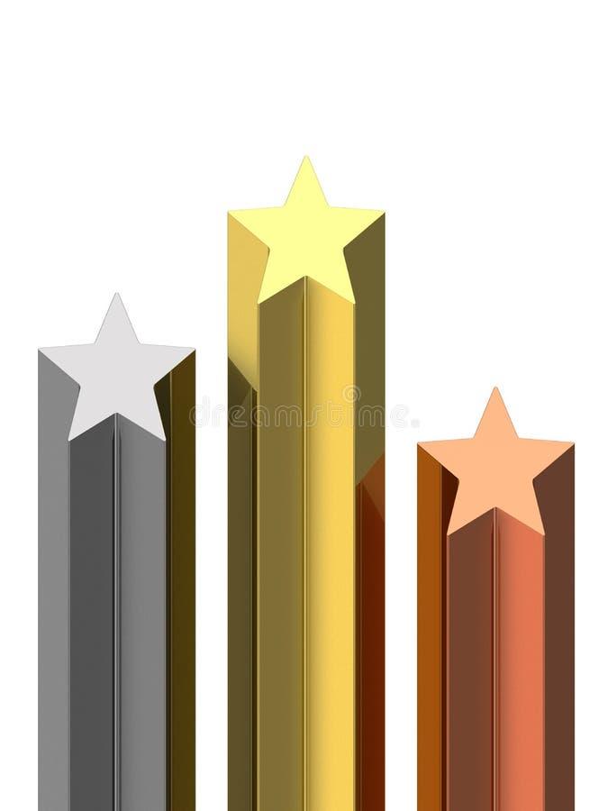 Zócalo de oro, de plata y de bronce de las estrellas ilustración del vector