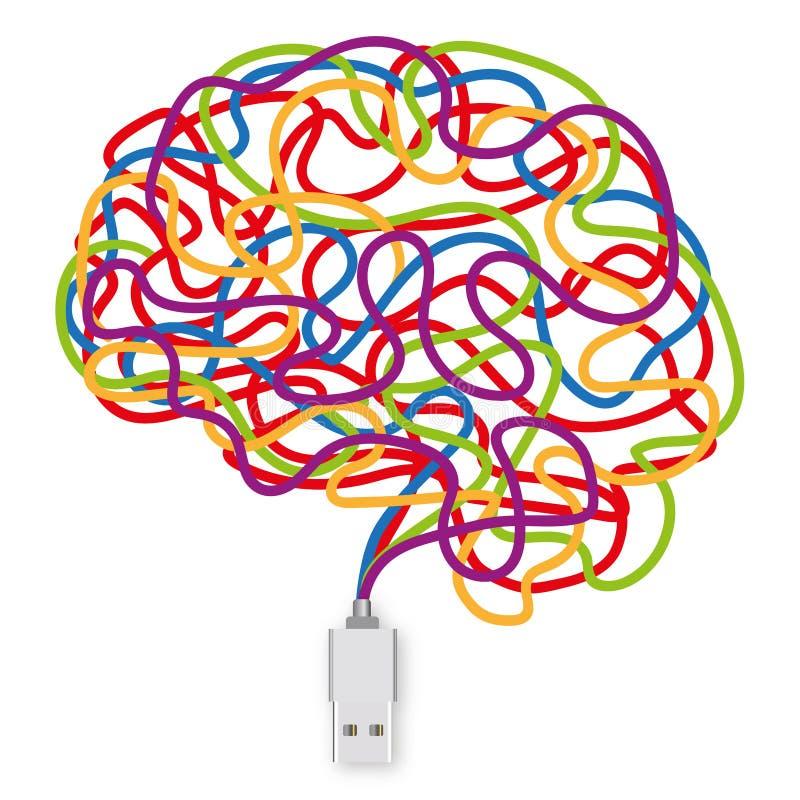 Zócalo del USB con una multitud de alambres coloreados que forman un cerebro ilustración del vector