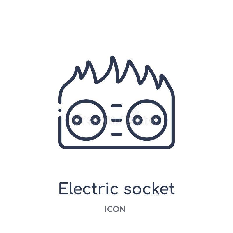zócalo eléctrico en icono del fuego de la colección del esquema de la tecnología Línea fina zócalo eléctrico en el icono del fueg libre illustration