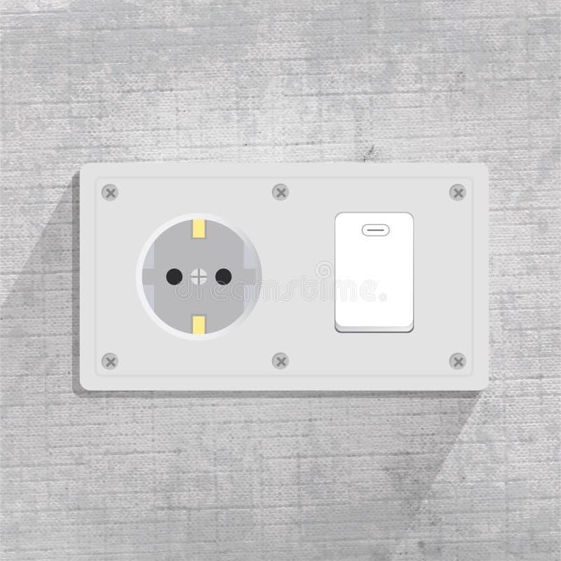Zócalo y interruptor de la luz de poder en fondo gris stock de ilustración