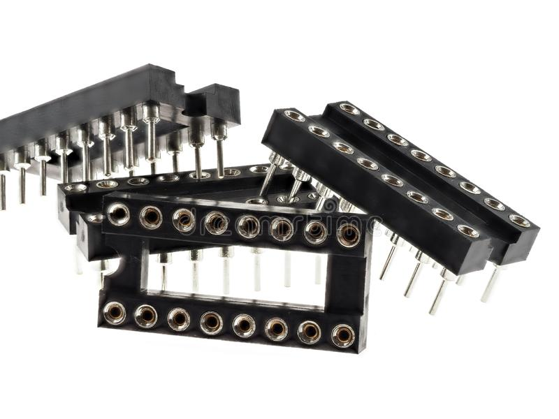 Zócalos para los circuitos integrados, aislados en blanco fotografía de archivo libre de regalías