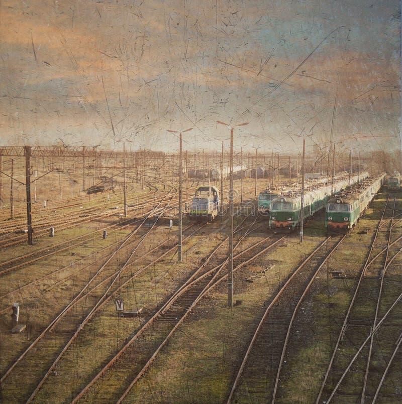 Züge. Retrostilfoto lizenzfreie stockbilder