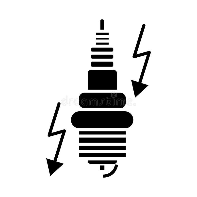 Zündung - Automobilikone, Vektorillustration, schwarzes Zeichen auf lokalisiertem Hintergrund vektor abbildung