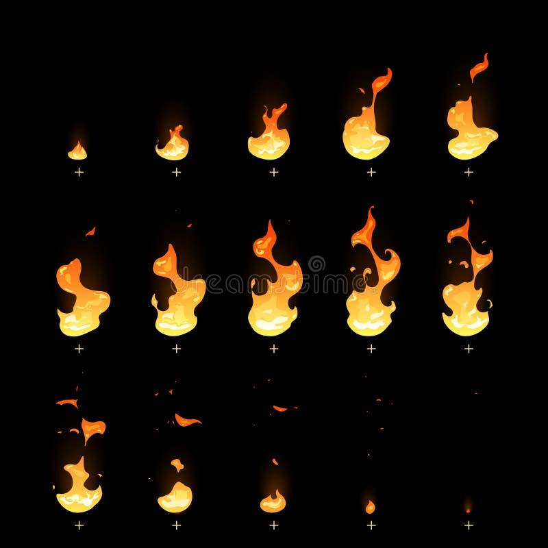 Zündung und verblassender Feuerfalle-Animationselfeblattkarikaturvektorsatz stock abbildung