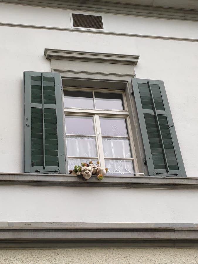 Zürcher Schweiz interessantes Haus mit tierartiger Dekoration am Fenster stockfotografie