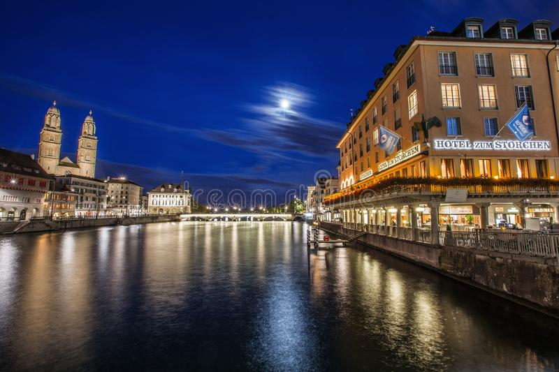 Zürich City on a full moon night stock photo