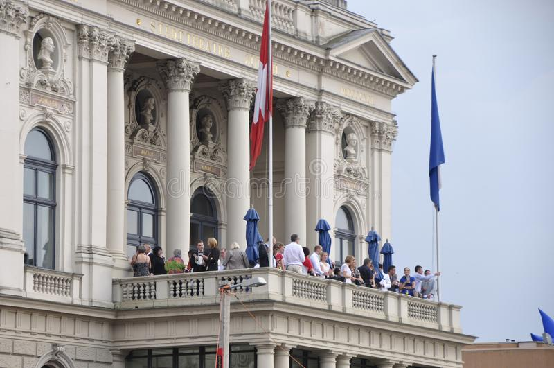 Zürich city: Opera visitors on the balcony royalty free stock photos