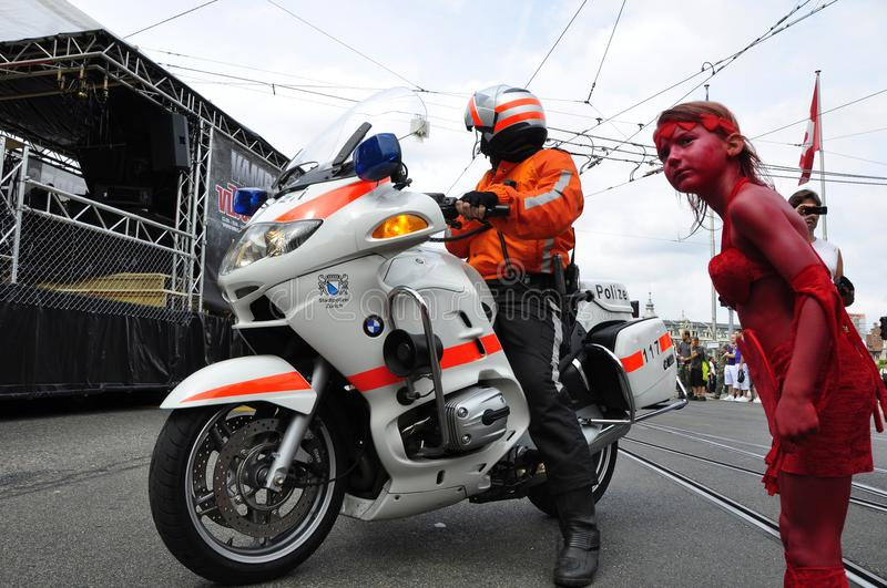 Zürich`s Streetparade: Police on bikes are also securing the Lo royalty free stock photography