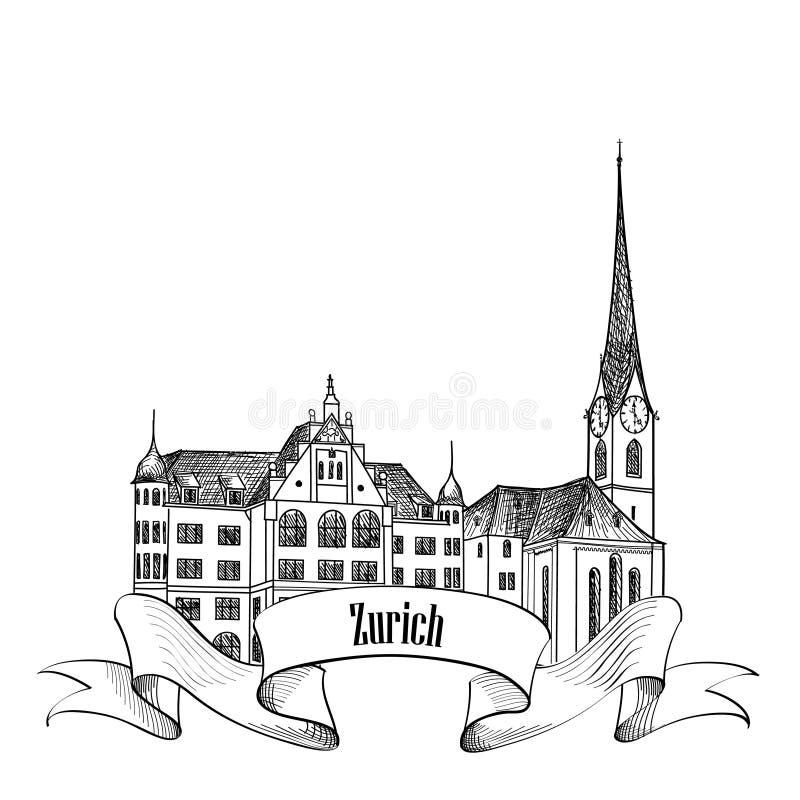 Zürich-Stadtemblem Die Schweiz-Markstein Reise-Europa-Aufkleber stock abbildung