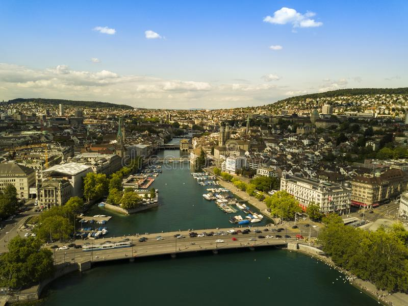 Aerial view of Zurich, Switzerland. Zürich or Zurich is the largest city in Switzerland and the capital of the canton of Zürich. It is located in north royalty free stock photo