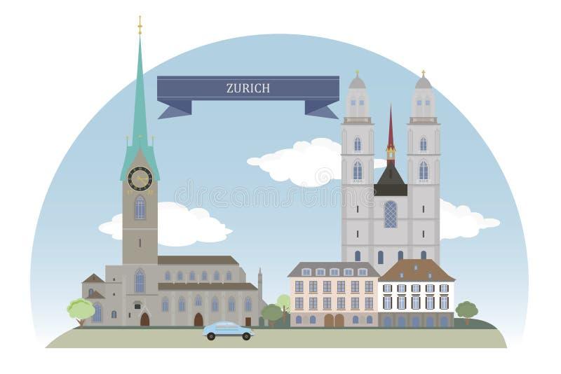 Zürich, Zwitserland vector illustratie