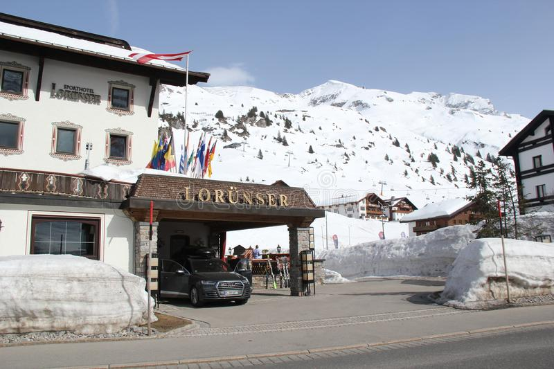 Luxury Hotel Entrance in Lech Zürs royalty free stock photo
