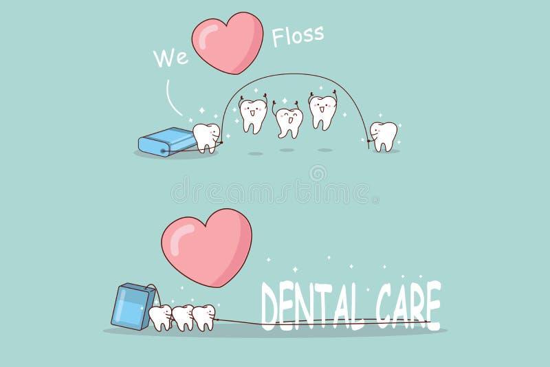 Ząb bawić się z floss ilustracja wektor