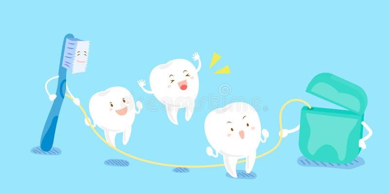 Ząb bawić się z stomatologicznym floss ilustracja wektor