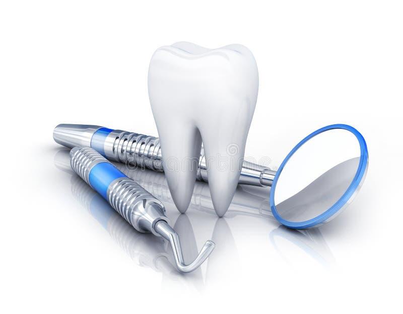 Ząb i stomatologiczni narzędzia fotografia royalty free