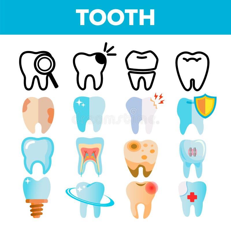 Ząb ikony Ustalony wektor Stomatologiczny Draphic Oralna opieka medyczna Usta zębu bólu ikona Linia, Płaska ilustracja ilustracja wektor