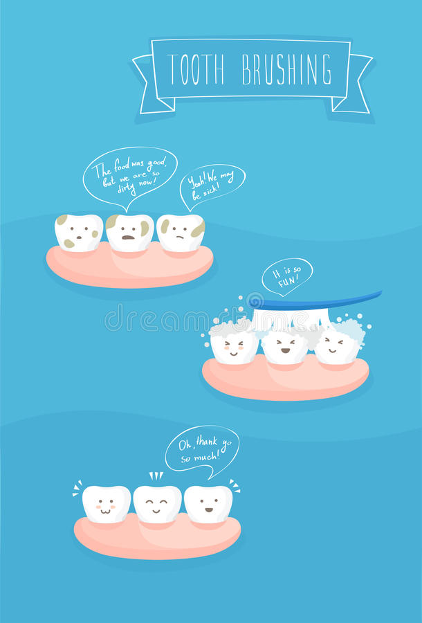 Ząb komiczki o szczotkować, wektor ilustracja wektor