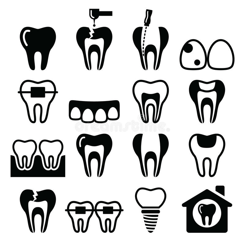 Ząb, zęby, stomatologiczne klinik ikony ustawiać ilustracji