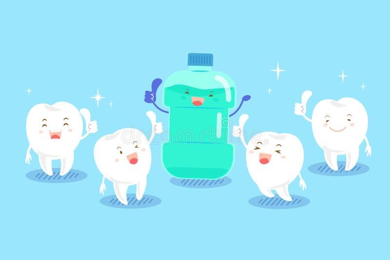Ząb z mouthwash ilustracja wektor