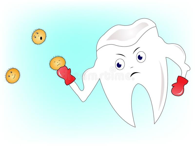 Ząb walczy bacterias royalty ilustracja