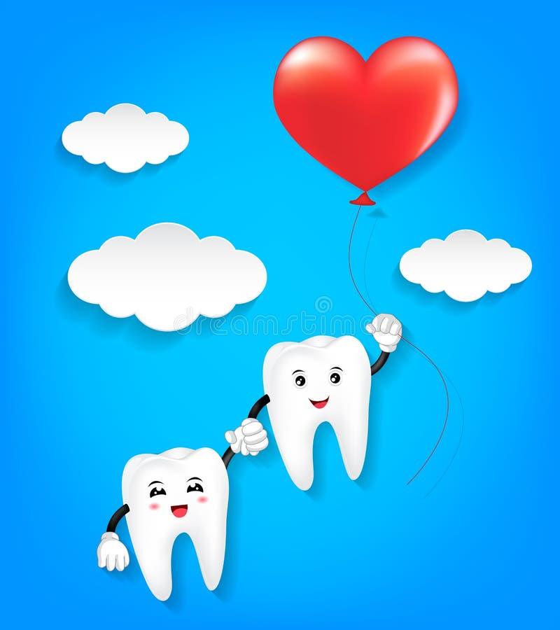 Zębu charakter z czerwonym serce balonem ilustracji