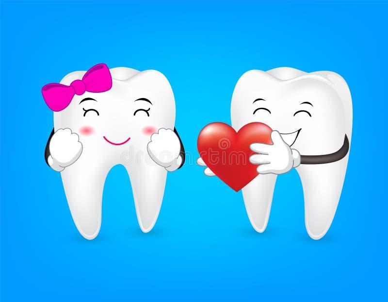 Zębu charakteru mienia czerwieni serce ilustracja wektor