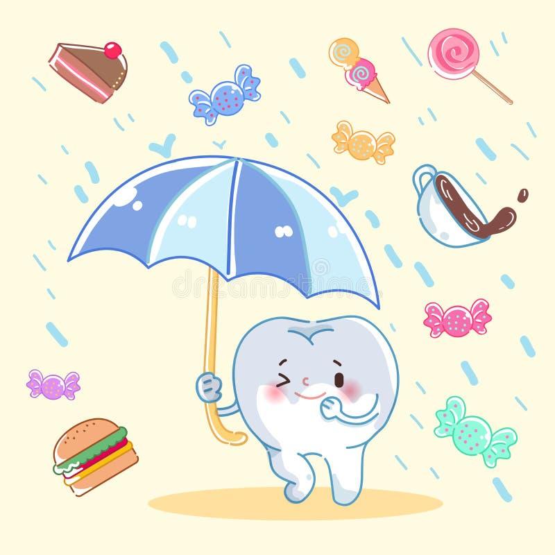 Zębu chwyta parasol ilustracja wektor