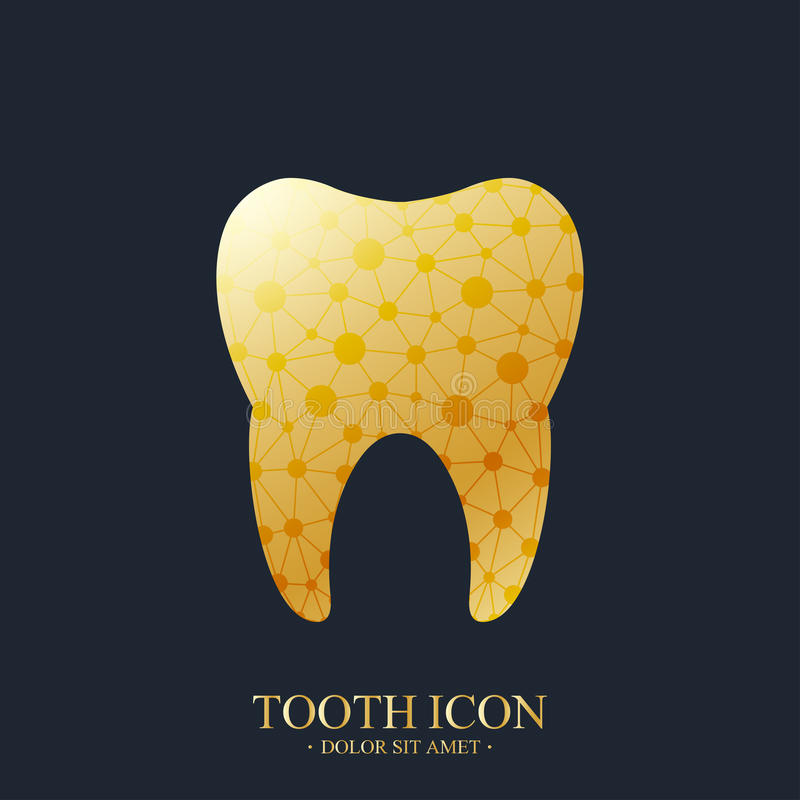 Zębu loga wektorowy szablon Medycznego projekta zębu Złoty logo Dentysty biura ikona Oralna opieka Stomatologiczna i klinika ząb royalty ilustracja