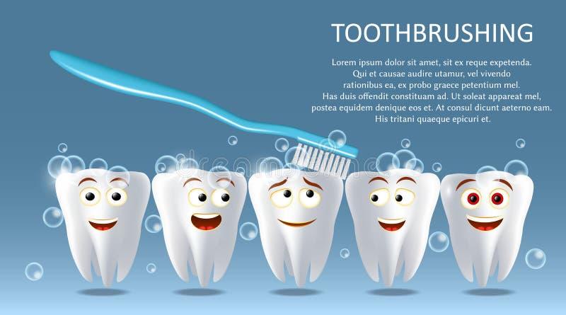 Zębu pojęcia sztandaru czyści wektorowy plakatowy szablon ilustracji