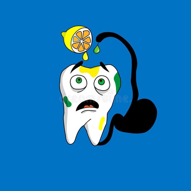 Zębu przestraszony kwas ilustracja wektor