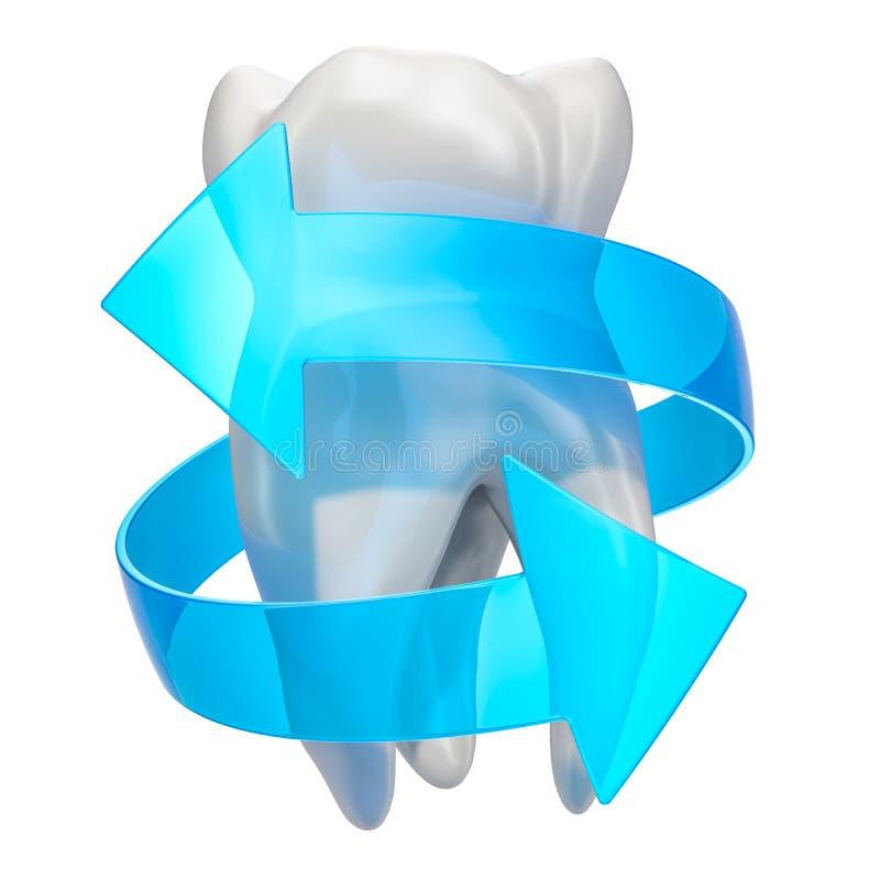 Zębu wyzdrowienie i ochrony pojęcie Ząb z błękitnymi strzałami, 3D rendering ilustracji