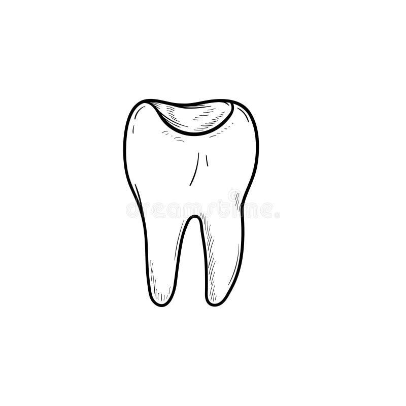 Zębu zagłębienia konturu doodle ręka rysująca ikona ilustracji