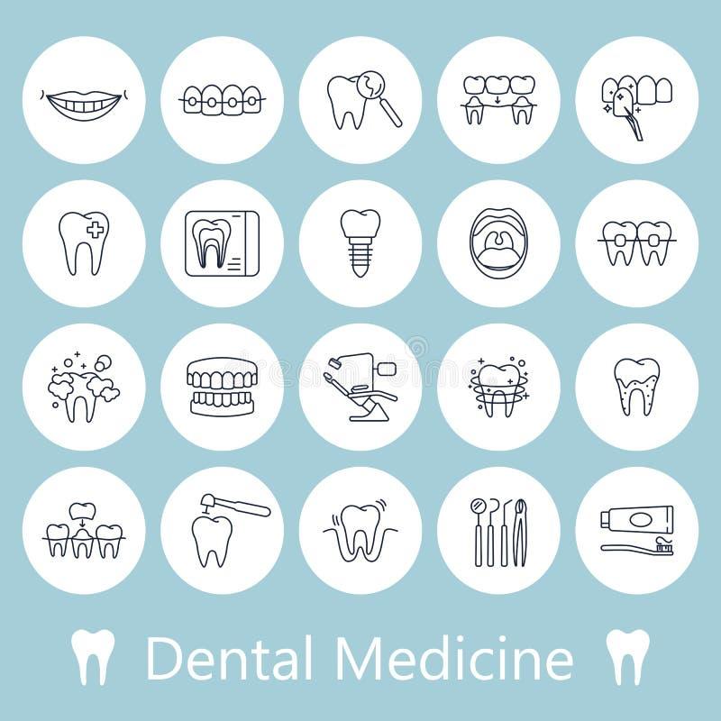 Zęby, dentystyk medyczne kreskowe ikony royalty ilustracja
