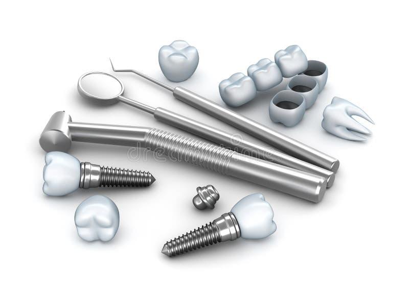 Zęby, wszczepy i stomatologiczni instrumenty, royalty ilustracja
