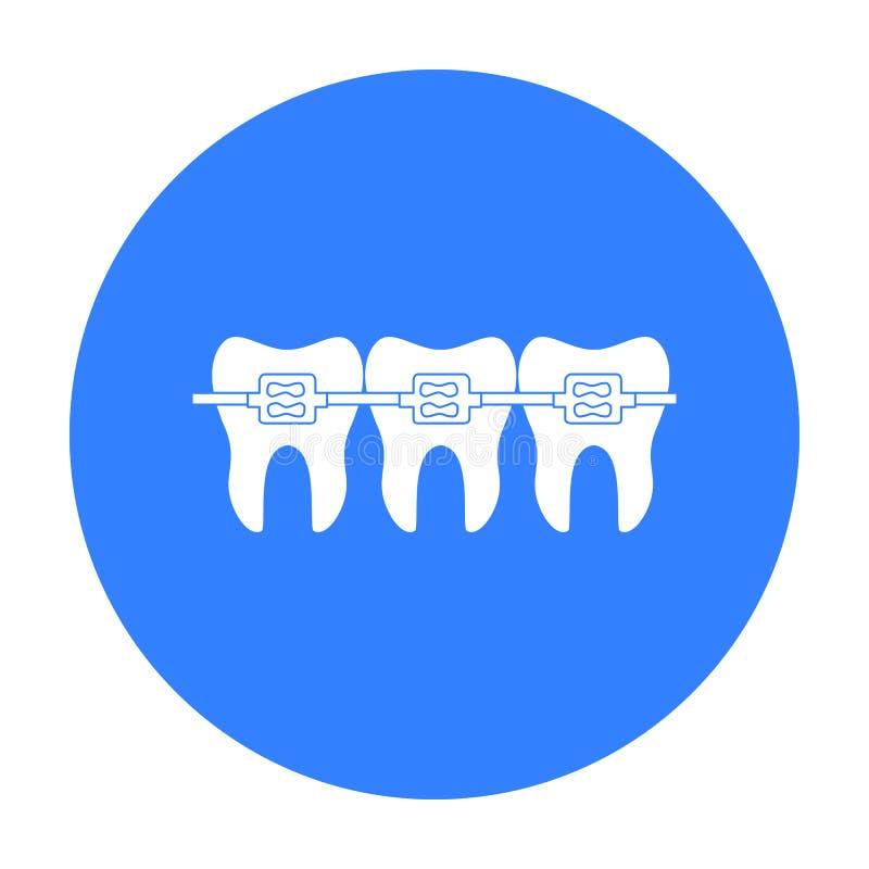 Zęby z stomatologiczną bras ikoną w czerń stylu odizolowywającym na białym tle Stomatologicznej opieki symbolu zapasu wektoru ilu royalty ilustracja