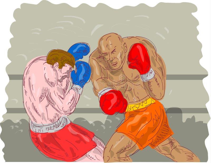 złączony boksera nokaut ilustracji