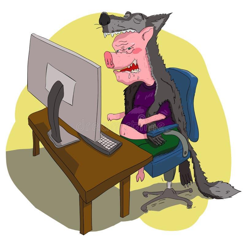 Zła świnia w wilczej ` s skórze zdjęcie stock