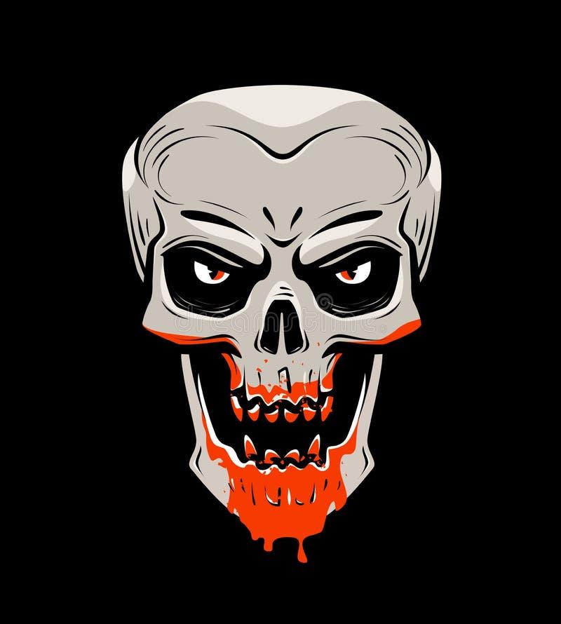 Zła czaszka i krew Halloween, żywy trup, undead, wampir kreskówka również zwrócić corel ilustracji wektora royalty ilustracja
