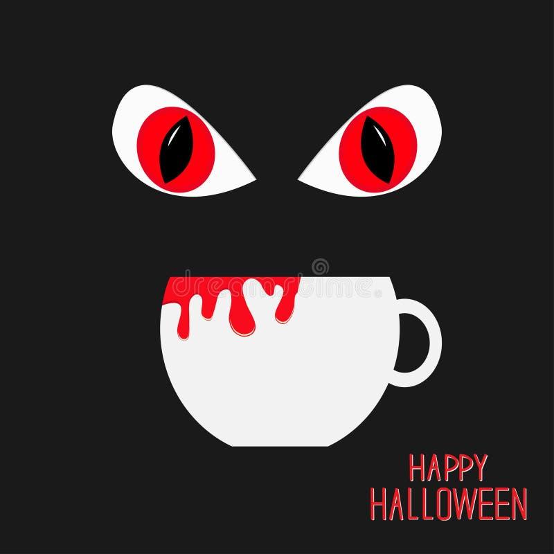 Zła Czerwona eyesand filiżanka z krwią w ciemnej nocy szczęśliwy karciany Halloween Płaski projekt ilustracji