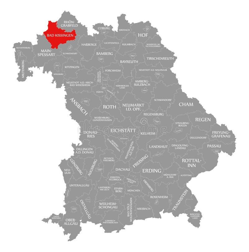 Zła Kissingen okręgu administracyjnego czerwień podkreślająca w mapie Bavaria Niemcy royalty ilustracja