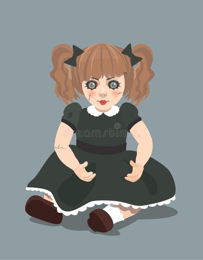 Zła lala na ciemnym tle, eps 10 ilustracja wektor